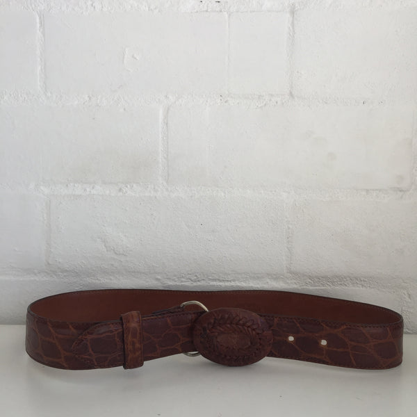 CALFSKIN Made in ITALY Brown TEXTURED BELT Vintage Size 75/30