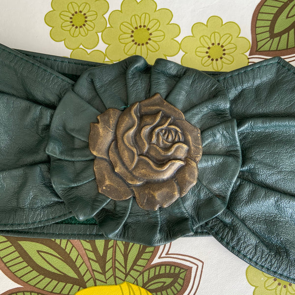 Matt Leather GREEN 80's Vintage BELT Love BUCKLE
