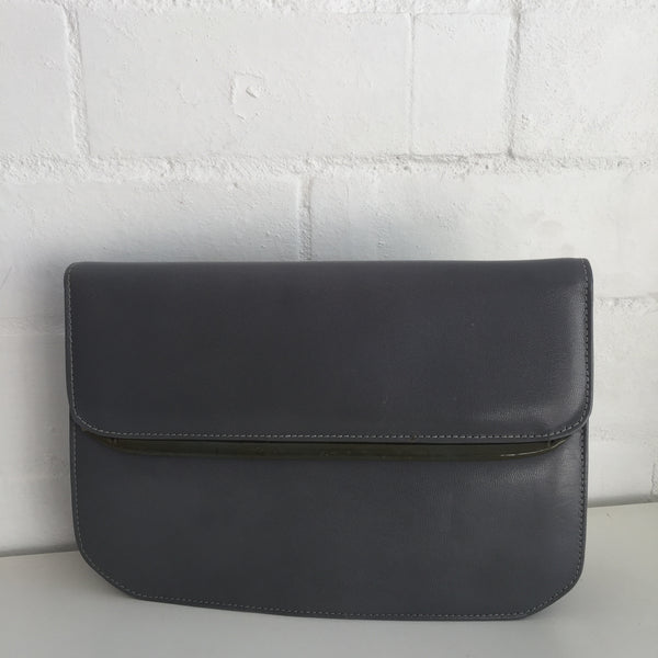 BAMBI Genuine LEATHER Grey Vintage Clutch or Handbag Classic Style CLUB Evening
