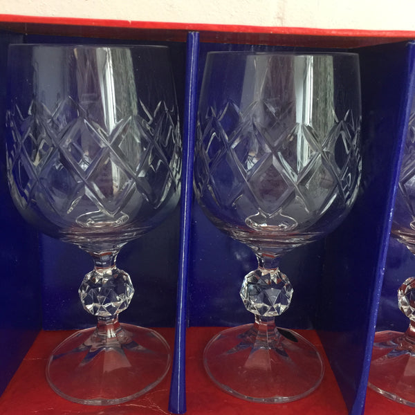 Bohemia Crystal GOBLET Boxed Vintage Set of Six Dinner Party