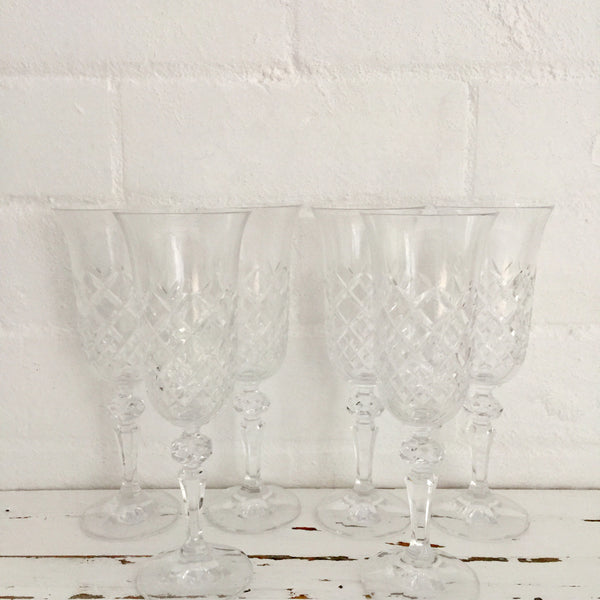 Vintage BOXED Bohemia Crystal Champagne Glasses SET OF SIX
