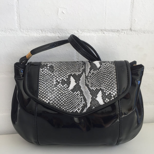 GOLD CREST Cool Black Patent Handbag 80's FAB Disco Evening Cocktail