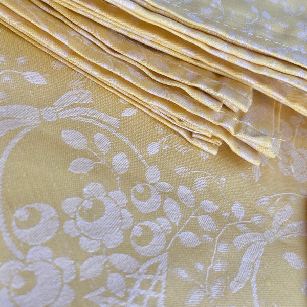 ATLAS Yellow BOXED COTTON Table Cloth & Serviettes DAMASK