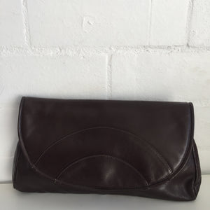 FAIGEN Vintage Brown Leather Clutch Handbag Club DISCO