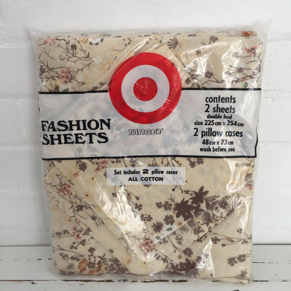 Vintage Unused Sheet Set Pillow Cases 2 Double Sheets FABRIC Retro