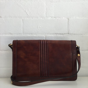 Made in Italy Leather Handbag BROWN Clutch with STRAPS