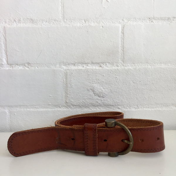 AWESOME Vintage GENUINE LEATHER BELT Rustic Buckle UNISEX