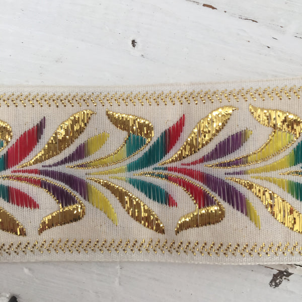 Beautiful Vintage Ribbon Embroidery Trim Gold Thread