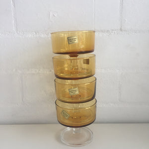 Retro 60s-70s Amber clear mid-century Luminarc glasses x 4 Made in France