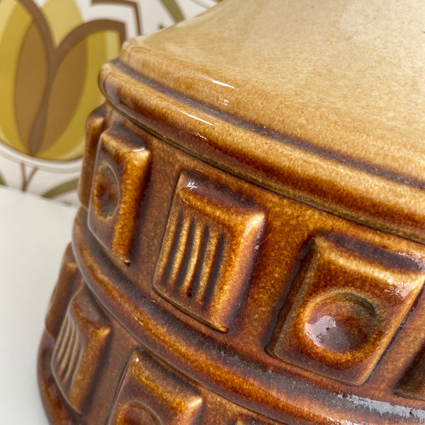 LARGE Mid Century Lamp 70's Retro Home Ceramic BROWN
