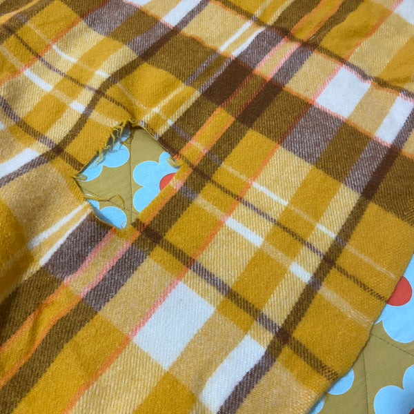 PLUMP Bright Probably UNUSED Wool Blanket Checked 70's CRAFT SEWING