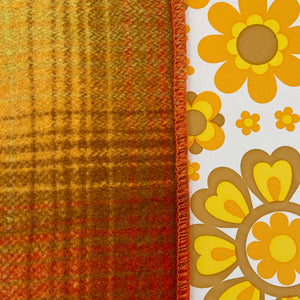 BEAUTIFUL Vintage Blanket Checked Orange & Yellow CRAFT CUTTER