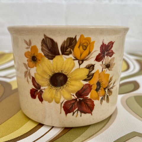 JOHNSON of Australia Brown Floral Bowl Sugar 70's Retro Kitchen