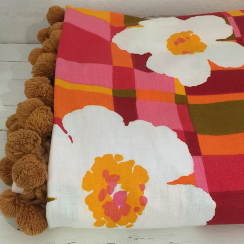 Authentic 70's UNUSED Vintage BOLD Floral Print Pom Pom BEDSPREAD Girls Room