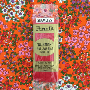 Seamless BIAS Sewing Quilting Red Nainsook Fine Lawn