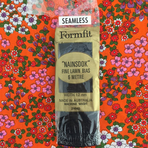 Seamless BIAS Sewing Quilting BLACK Nainsook Fine Lawn