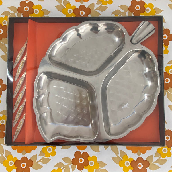 STAINLESS STEEL Boxed Unused RETRO Platter Mid Century WESTMINSTER