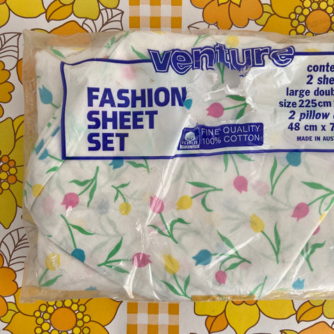 100% Cotton Sheet Venture Pillow Cases Two Flat Sheets