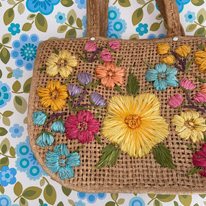 ADORABLE Unused Vintage Wicker Tote Handbag Beautiful