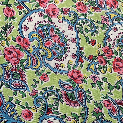 Beautiful Vintage Green & Pink Paisley QUILT 1950's Beauty