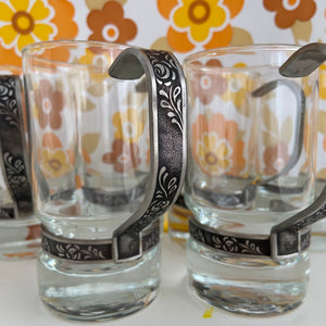 Set of SIX ~ 6 ~ AMAZING 70's Mid Century GLASSES Stainless Steel Handles