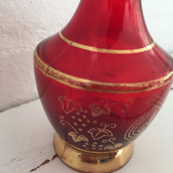 COLLECTABLE Rare MIKADO Red Glass GOLD Pattern Atomiser Perfume BOTTLE