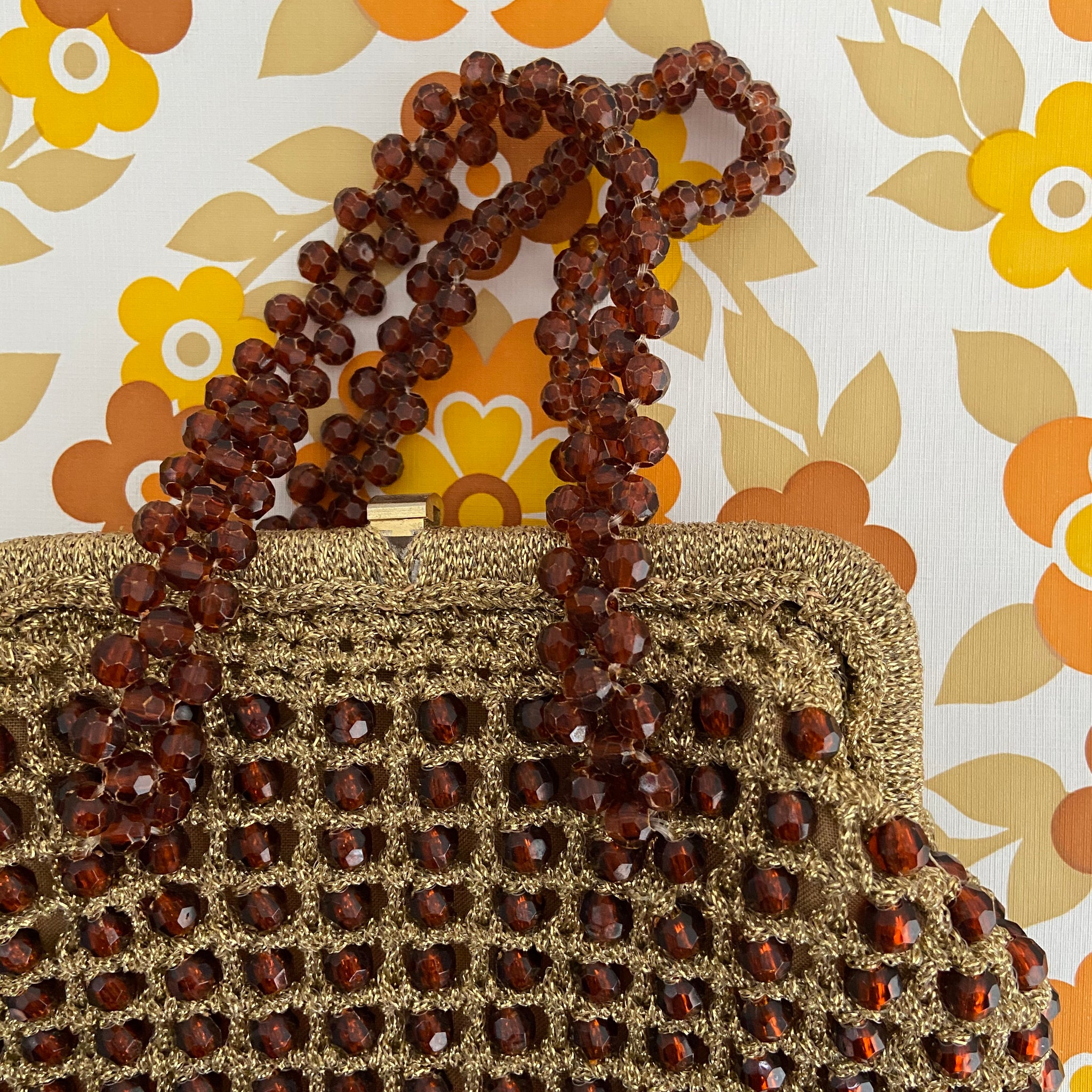 UNIQUE Beaded Gold & Brown Made in ITALY Handbag VINTAGE