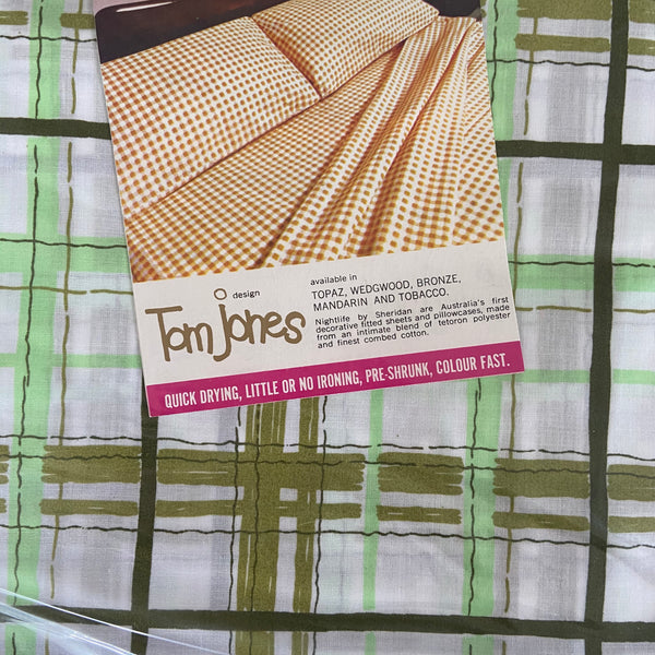 TOP Sheet RETRO Sheridan Green Stripes FABRIC 70's
