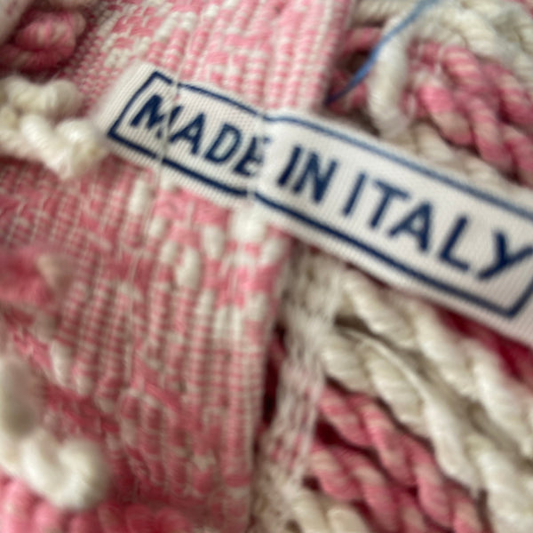 MADE IN ITALY COTTON UNUSED Blanket Pink & White Pretty LARGE