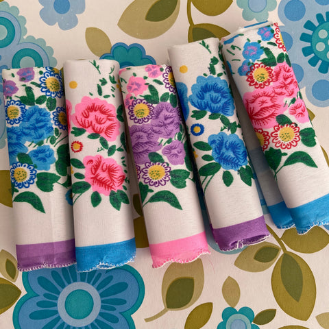 Cute Vintage Floral Hankies - UNUSED - Craft - Up cycle