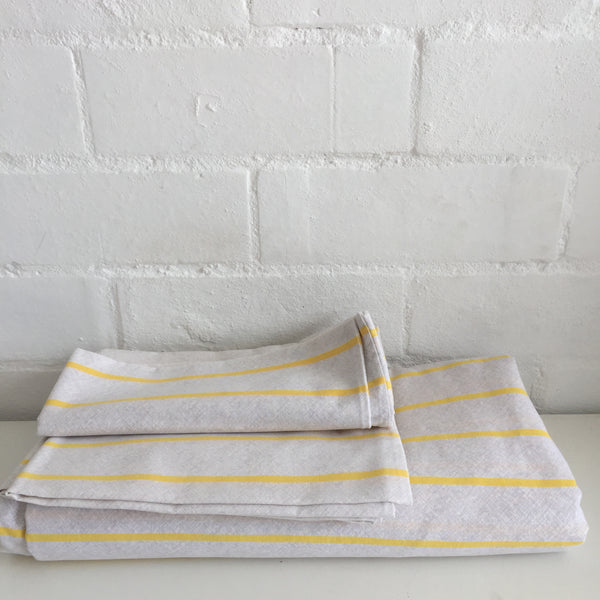 Yellow Striped Sheet Set with Two Pillow Cases