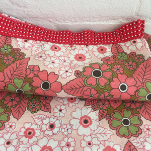 Brand New Vintage Floral Little Girls Pillow Case with Red Polka Dot Trim