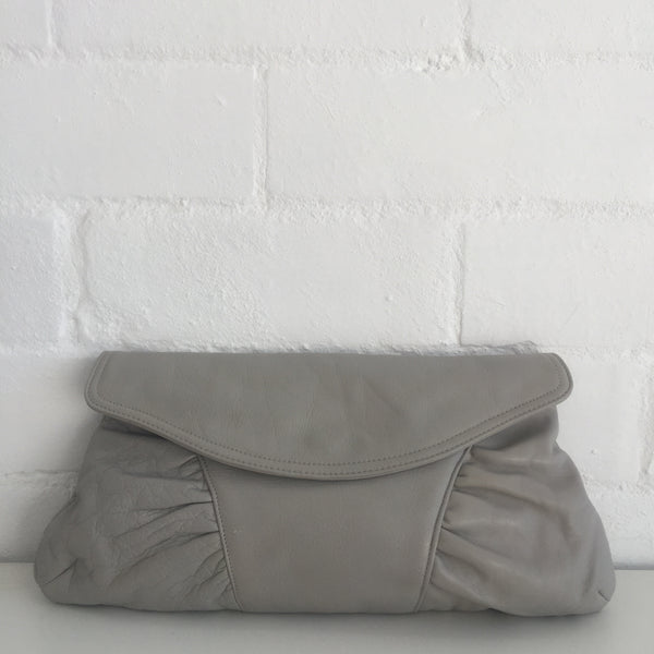 Vintage GENUINE LEATHER Clutch Grey Evening Club Clean Condition 80's