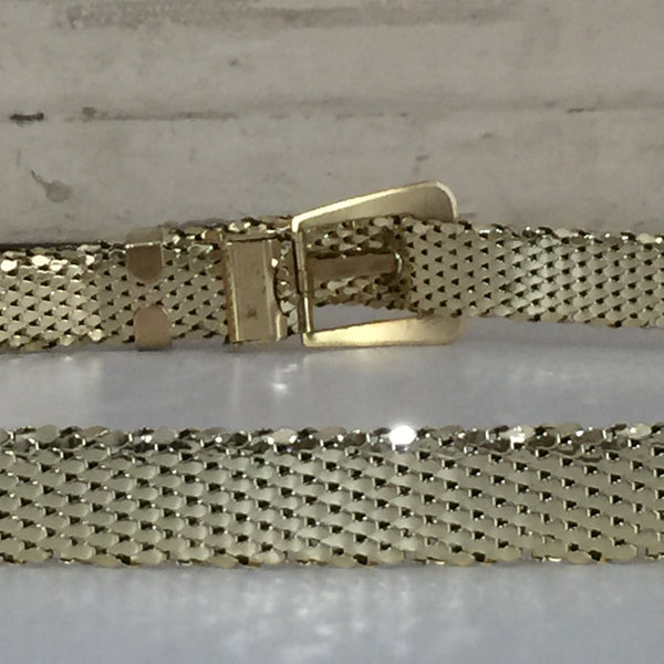 WHITING & DAVIS Gold VINTAGE Belt COLLECTABLE Mesh Fashion AS NEW - Pink Peacock  - 7