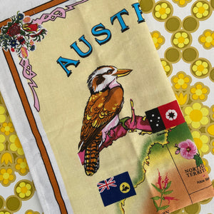 AUSTRALIA Cotton Retro Print Tea Towel Birds Craft