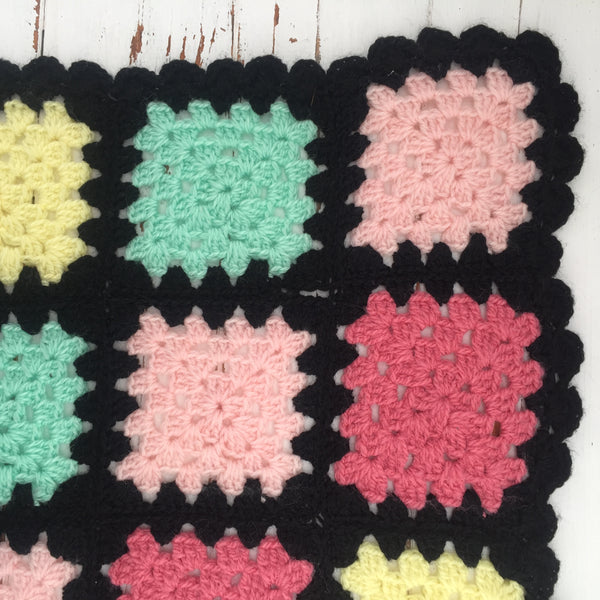 Vintage Granny Square Blanket - Perfect Bright Colours with a Black Trim