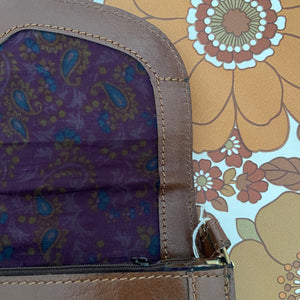 OGGI Domani Vintage Handbag UNUSED Tag LEATHER Paisley Lining