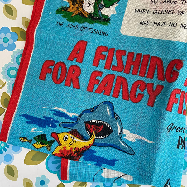 PURE Linen Fantasy Fishing Paynesville VIC Retro Souvenir Tea Towel