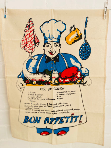 FAB Retro Tea Towel Bon Appetit RECIPE Cari De Poisson