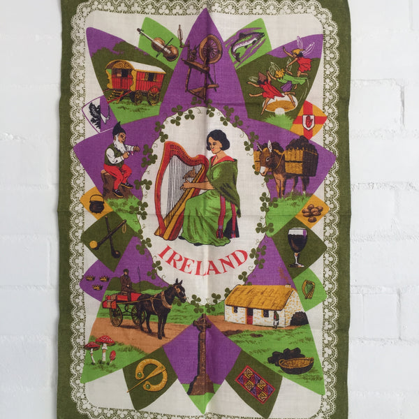 AMAZING Vintage Tea Towel BIRDS Linen Kitchen RETRO Irish FUN Print