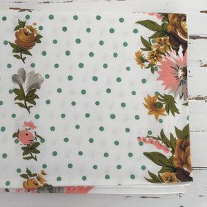 Flowers & Polka Dots the Perfect Combination on a Vintage Table Cloth