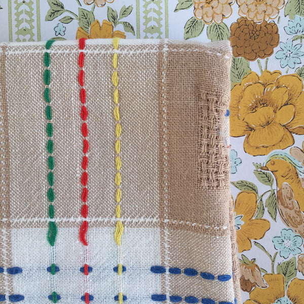 Cute Linen Table Cloth with Colourful Stitching Vintage Style