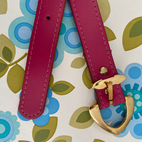 Bright Pink GENUINE Leather Belt Retro Vintage Chic