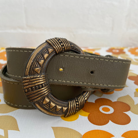 Vintage Green Genuine LEATHER Belt Boho Hippy Chic