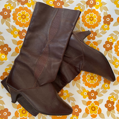 Vintage Brown Soft Sloppy BOOTS Brown Genuine LEATHER