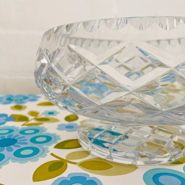 DIAMOND Cut Crystal Bowl Vintage Antique Dinner Party