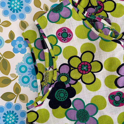 FUNKY Retro Apron Craft Cooking FABRIC 70's Flower Power