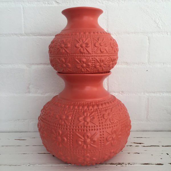 Large EMBOSSED Flower Vase - CORAL