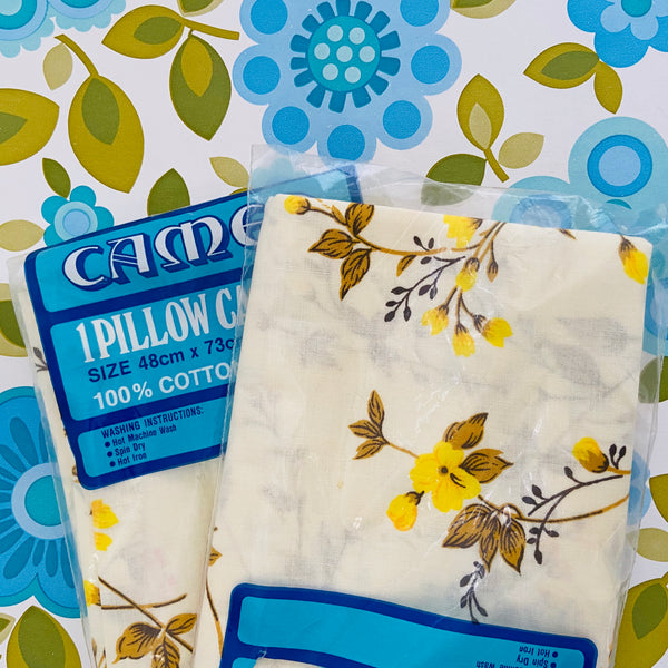 CAMEO Unused Pillow Cases Yellow Floral RETRO Bedroom