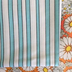 All Cotton Vintage Candy Striped Pillow Cases PAIR